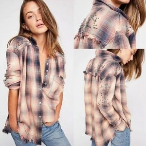 Free People Plaid High Low Boyfriend Shirt Top